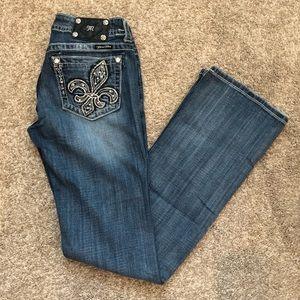 Miss Me Bootcut Fleur de Lis Jeans, Size 29